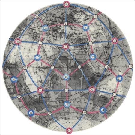 В центрах граней этих предметов были отверстия, а в... Совмещение на глобусе икосаэдра и додекаэдра дало модель...
