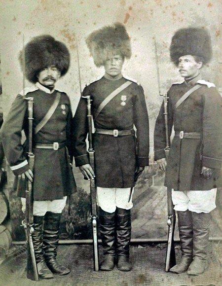 Казаки Уссурийского пешего батальона.